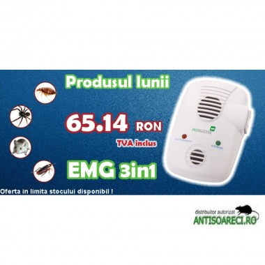 Pestmaster EMG 3 in 1 - Aparat cu ultrasunete si unde electromagnetice anti gandaci, anti soareci, sobolani, anti furnici, anti paianjeni si alte insecte