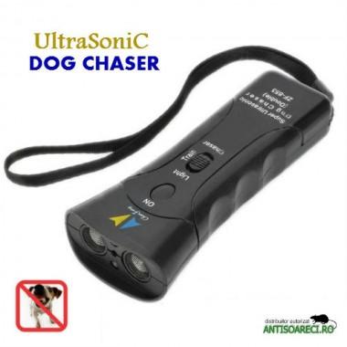 Aparat cu ultrasunete, flash, laser impotriva cainilor agresivi – SUPER ULTRASONIC DOG CHASER
