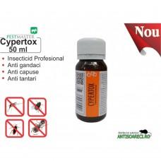 Insecticid profesional impotriva gandacilor, puricilor, mustelor, tantarilor - Cypertox 50ml