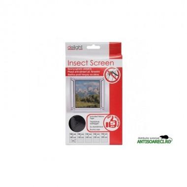 Plasa ferestre impotriva insectelor - 100x100 cm - alba/neagra