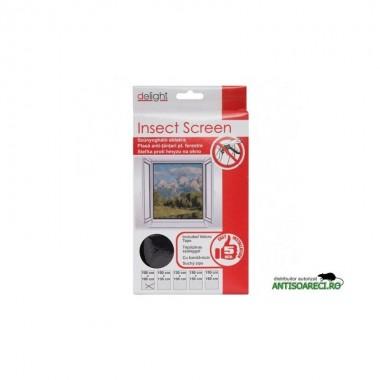 Plasa ferestre impotriva insectelor 100x130 cm - alba/neagra